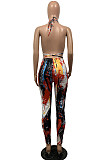 Red Casual Polyester Tie Dye Sleeveless Backless Knotted Strap Utility Blouse Long Pants Sets BS1203