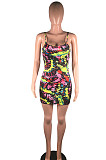 Yellow Pink Casual Polyester Tie Dye Sleeveless Slip Dress BS1202
