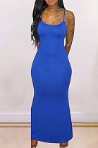 Robe longue décontractée sans manches en polyester à col rond bleu YMT6152