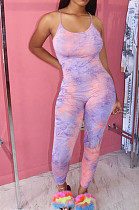 Purple Pink Casual Polyester Tie Dye Sleeveless Spaghetti Strap  Open Back Cami Jumpsuit BBN091