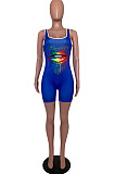 Blue Casual Rayon Mouth Graphic Sleeveless Square Neck Bodycon Jumpsuit ARM8195