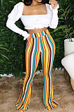 White Casual Polyester Striped High Waist Wide Leg Pants BBN090