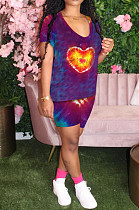 Purple Casual Polyester Short Sleeve Round Neck Tee Top Shorts Sets YMT6149