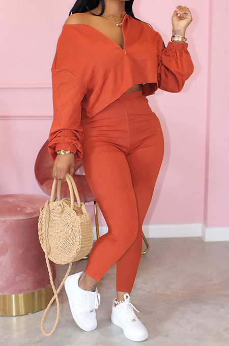 Orange Casual Long Sleeve V Neck Crop Top Long Pants Sets ARM8189