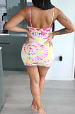 Pink Casual Polyester Tie Dye Sleeveless Slip Dress BS1202