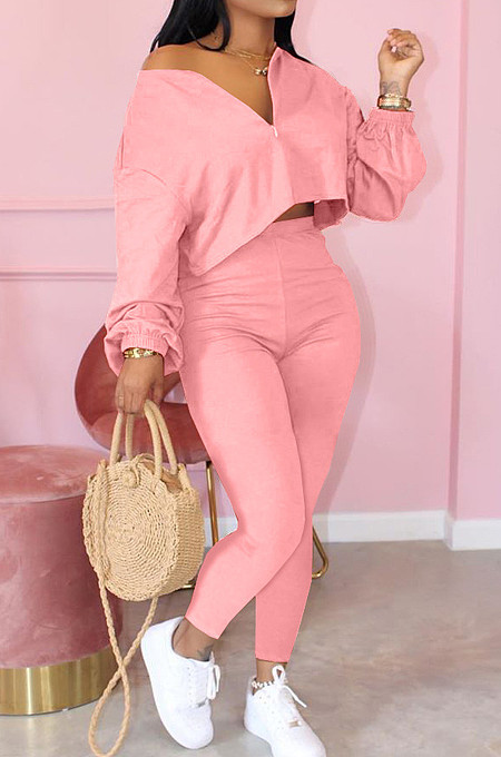 Pink Casual Long Sleeve V Neck Crop Top Long Pants Sets ARM8189