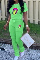 Green Casual Polyester Mouth Graphic Short Sleeve Round Neck Tee Top Long Pants Sets ARM8191