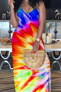 Red Blue Casual Polyester Tie Dye Sleeveless V Neck Mid Waist Slip Dress MA6569