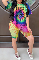 Multi Casual Polyester Letter Short Sleeve Round Neck Tee Top Shorts Sets W8285