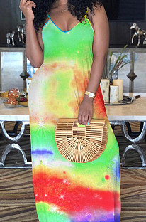 Green Casual Polyester Tie Dye Sleeveless V Neck Mid Waist Slip Dress MA6569
