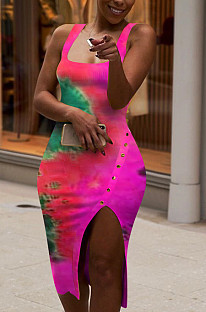 Pink Sexy Polyester Tie Dye Sleeveless Jag Scoop Neck Tank Dress LM1012