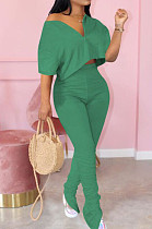 Green Casual Cute Polyester Pure Color Short Sleeve Zipper Front Crop Top High Waist Long Pants Sets MTY6322