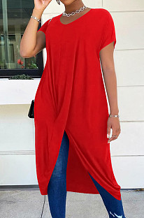 Red Casual Polyester Pure Color Short Sleeve Round Neck Anomaly Long Dress LM098