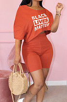 Orange Cute Polyester Letter Short Sleeve Round Neck Crop Top Shorts Sets MTY6366