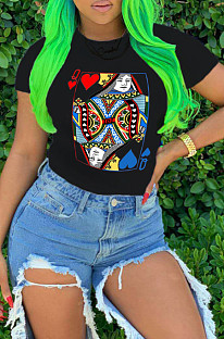 Black Casual Nylon Geometric Graphic Short Sleeve Round Neck Tee Top AFY690