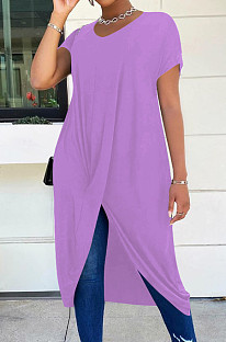 Violet Casual Polyester Pure Color Short Sleeve Round Neck Anomaly Long Dress LM098