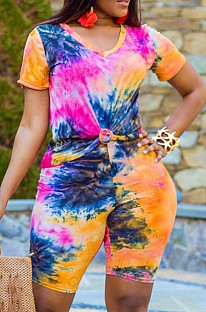 Colorful Orange Casual Polyester Tie Dye Short Sleeve Round Neck Tee Top Capris Pants Sets QZ4203