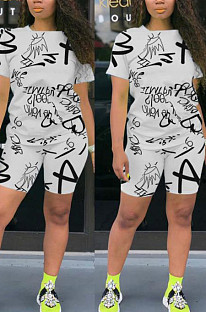 White Casual Polyester Letter Short Sleeve Round Neck Tee Top Shorts Sets OEP6198