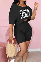 Black Cute Polyester Letter Short Sleeve Round Neck Crop Top Shorts Sets MTY6366
