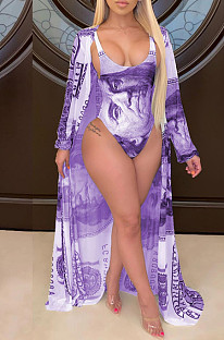 Purple Casual Polyester Sleeveless Two Pieces Swimsuits CY1227