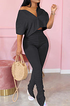 Black Casual Cute Polyester Pure Color Short Sleeve Zipper Front Crop Top High Waist Long Pants Sets MTY6322