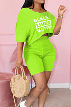 Fluorescent Green Cute Polyester Letter Short Sleeve Round Neck Crop Top Shorts Sets MTY6366