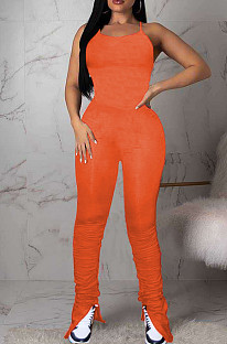 Orange Sexy Polyester Short Sleeve Round Neck Spaghetti Strap  Open Back Ruffle Cami Jumpsuit MN8303