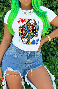 White Casual Nylon Geometric Graphic Short Sleeve Round Neck Tee Top AFY690