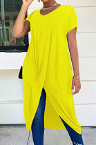 Yellow Casual Polyester Pure Color Short Sleeve Round Neck Anomaly Long Dress LM098