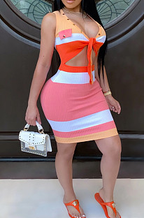 Multi-orange Sexy Polyester Striped Short Sleeve V Neck Tie Front High Waist Mini Dress YYZ504