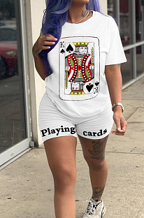 White Casual Sporty Polyester Poker Printed Short Sleeve Round Neck Tee Top Regular Leggings Sets ZH5230