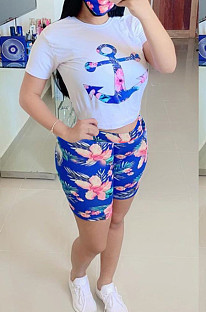 Casual Polyester Floral Short Sleeve Round Neck Tee Top Shorts Sets OEP6195