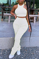 White Casual Sleeveless Round Neck Shirred Detail Tank Top Long Pants Sets CM761