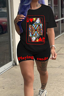 Black Casual Sporty Polyester Poker Printed Short Sleeve Round Neck Tee Top Regular Leggings Sets ZH5230