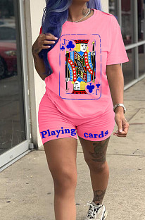 Pink Casual Sporty Polyester Poker Printed Short Sleeve Round Neck Tee Top Regular Leggings Sets ZH5230
