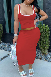 Red Casual Polyester Sleeveless Square Neck Tank Top Midi Skirt Sets SDD9284