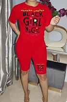 Rode casual korte mouw T-shirt met korte mouwen en ronde hals, OEP6178