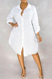 Weiß Lässig Polyester Pure Color Langarm Ansteckknopf Knopf Hemd Kleid OLY6006