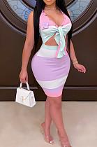 Multi-purple Sexy Polyester Striped Short Sleeve V Neck Tie Front High Waist Mini Dress YYZ504