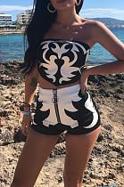 White Black Sexy Polyester Sleeveless Bandeau Bra Shorts Sets OX8048