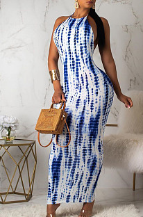 White Blue Casual Polyester Sleeveless Round Neck Self Belted Backless Mid Waist Long Dress OX8050