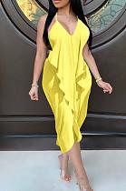 Желтое сексуальное платье без рукавов с V-образным вырезом без спинки и разрезом по бокам BLX7516