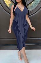 Темно-синее сексуальное платье без рукавов с V-образным вырезом без спинки и разрезом по бокам BLX7516