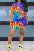 Orange And Blue Casual Polyester Tie Dye Short Sleeve Round Neck Tee Top Shorts Sets OX8056