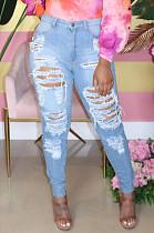 Светло-синие скромные хлопчатобумажные джинсы с высокой талией и эластичной силой SMR2274