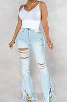 Hellblaue sexy Baumwolle Quaste Saum High Waist Flare Leg Jeans Hose SMR2280