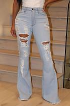 Светло-синие скромные хлопчатобумажные рваные джинсы с брюками средней яркости SMR2273