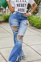 Blue Sexy Cotton Tassel Hem High Waist Flare Leg Jeans Pants  SMR2280
