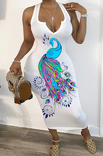 White Sexy Polyester Animal Graphic Sleeveless V Neck Tank Dress HM5342