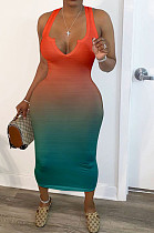 Orange Sexy Polyester Sleeveless V Neck Mid Waist Tank Dress HM5332